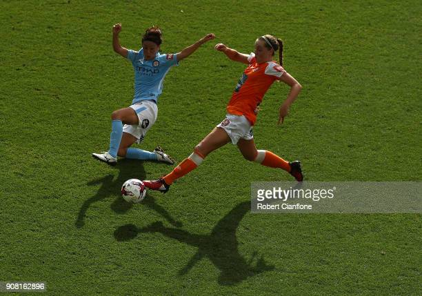 Celeste Boureille of the Roar is challenged by Yukari Kinga of Melbourne City during the round 12 WLeague match between Melbourne City and the...