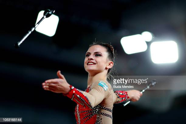 Celeste Darcangelo of Argentina competes in Individual AllAround Qualification Subdivision 2 Rotation 3 during Day 4 of Buenos Aires 2018 Youth...
