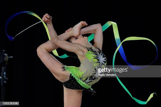 Celeste Darcangelo of Argentina competes in ribbon in Multidiscipline Team Event Final during Day 4 of Buenos Aires 2018 Youth Olympic Games at...