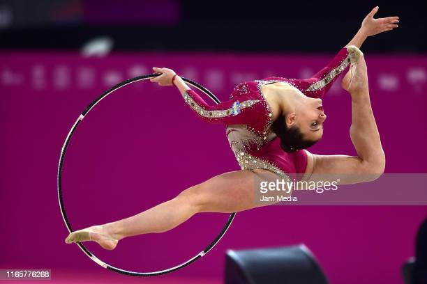 Celeste D'Arcangelo of Argentina performs during the Rhythmic Gymnastics - Individual All Around on Day 7 of Lima 2019 Pan American Games at Villa El...