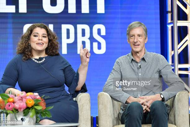 Celeste Headlee and Andy Borowitz of Retro Report speak during the 2019 Summer TCA press tour at The Beverly Hilton Hotel on July 30 2019 in Beverly...