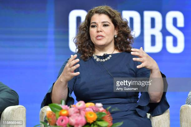 Celeste Headlee of Retro Report speak during the 2019 Summer TCA press tour at The Beverly Hilton Hotel on July 30 2019 in Beverly Hills California
