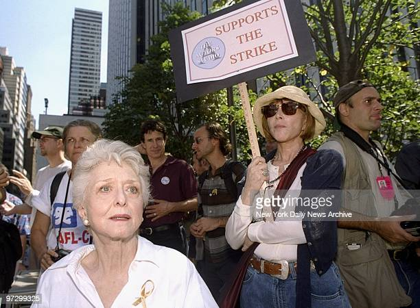 Celeste Holm is on hand for the demonstration as the stars turn out on Sixth Ave. To support striking members of the Screen Actors Guild and the...