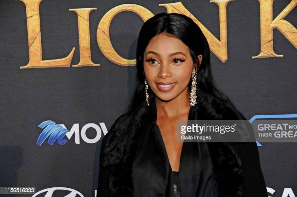 Celeste Khumalo during the official South African Premiere of Disney's The Lion King at the Johannesburg Country Club on July 18 2019 in Johannesburg...