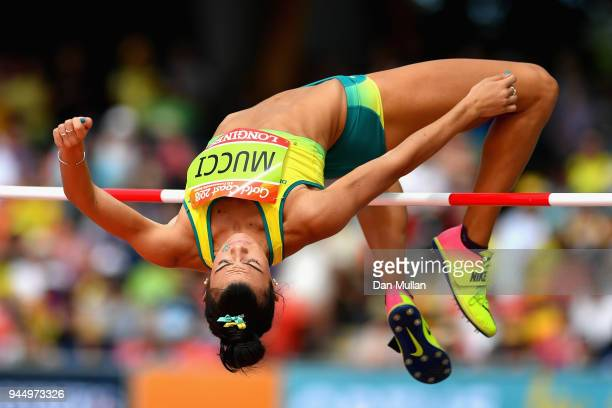 Celeste Mucci of Australia competes in the Women's Heptathlon High Jump during athletics on day eight of the Gold Coast 2018 Commonwealth Games at...