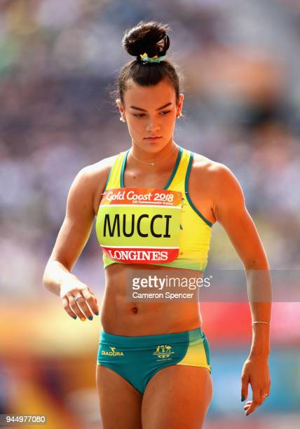 Celeste Mucci of Australia looks on as she competes in the Women's Heptathlon High Jump during athletics on day eight of the Gold Coast 2018...