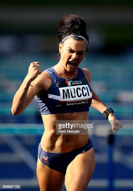 Celeste Mucci of Victoria celebrates winning the womens under 20s 110m hurdles on day three of the 2017 Australian Athletics Championships at Sydney...