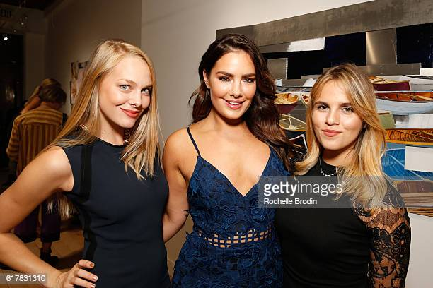 Celeste Petronko Beau Dunn and Rachel Cole attend art exhibtion Pareidolia at De Re Gallery on October 22 2016 in West Hollywood California