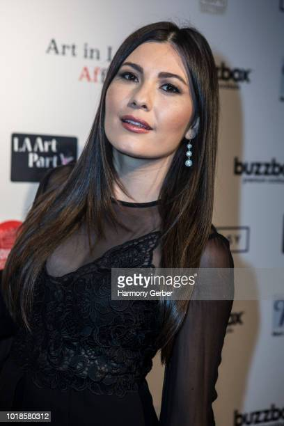 Celeste Thorson arrives at the Art In LA Affair Opening Night Gala at Artists Corner on August 17 2018 in Los Angeles California