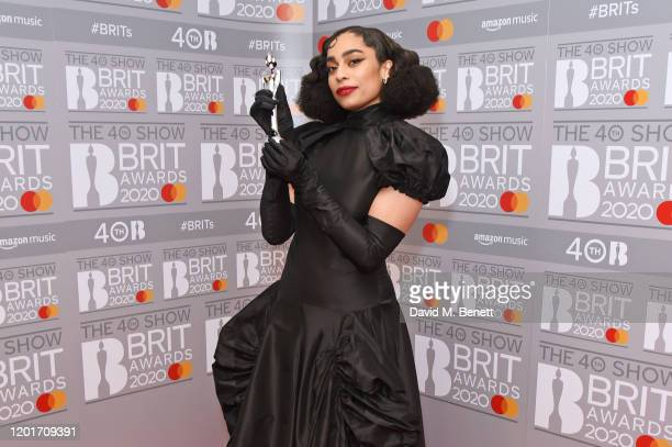 Celeste, winner of the Rising Star award, poses in the winners room at The BRIT Awards 2020 at The O2 Arena on February 18, 2020 in London, England.