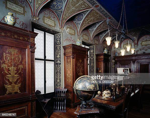 Celestial globe brass bronze wood and plaster height 70 cm diameter 44 cm library in the Bagatti Valsecchi museum Milan Lombardy Italy