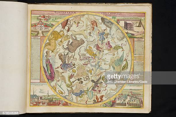 Celestial map in Atlas Coelestis by Johann Gabriel Doppelmayr in the Dr Elliott and Eileen Hinkes Collection of Rare Books of Scientific Discovery...