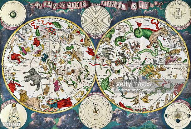 Celestial map of the 17th century by the Dutch cartographer Frederik de Wit Star groups and astrological and zodiac signs are shown