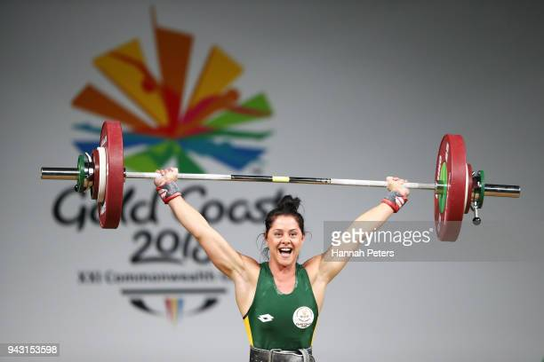 Celestie Engelbrecht of South Africa competes in the Women's 69kg final during Weightlifting on day four of the Gold Coast 2018 Commonwealth Games at...