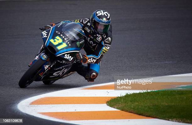 Celestino Vietti of Italy and SKY Racing Team VR46 KTM during the qualifying of the Gran Premio Motul de la Comunitat Valenciana of world...