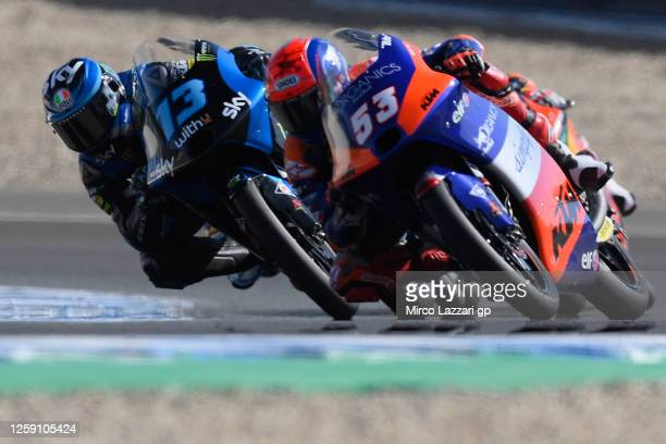 Celestino Vietti Ramus of Italy and Sky Racing Team VR46 leads the field during the Moto3 race during the MotoGP of Andalucia - Race at Circuito de...