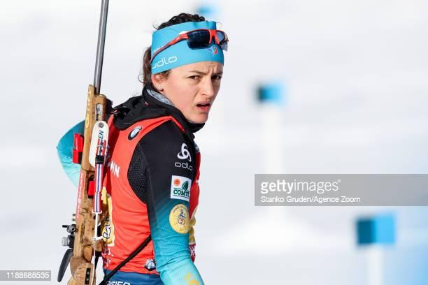 Celia Aymonier of France in action during the IBU Biathlon World Cup Women's Relay on December 14, 2019 in Hochfilzen, Austria.