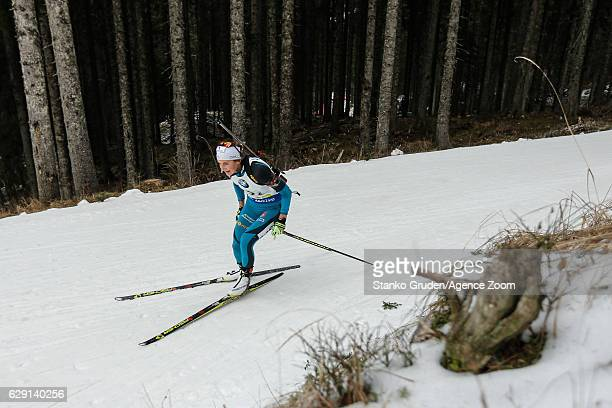 Celia Aymonier of France takes 2nd place during the IBU Biathlon World Cup Men's and Women's Relay on December 11 2016 in Pokljuka Slovenia