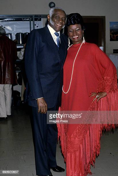 Celia Cruz and husband Pedro Knight at the Telethon for Colombia circa 1985 in New York City