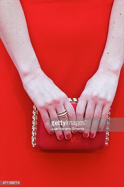 Celia de Molina clutch detail attends the 'Solo Quimica' premiere during the 18th Malaga Spanish Film Festival at the Cervantes Theater on April 25...