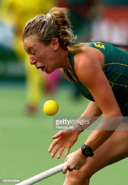 Celia Evans of South Africa in action during the Women's preliminaries match between South Africa and India at Glasgow National Hockey Centre during...