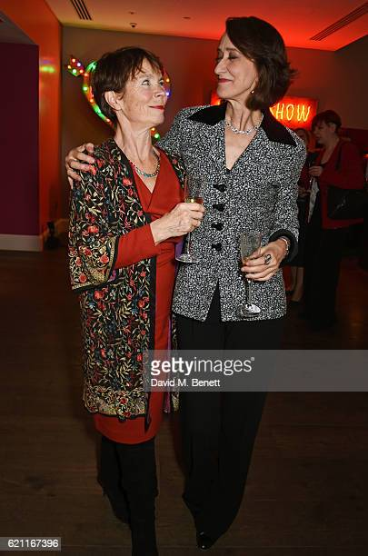 Celia Imrie and Haydn Gwynne attend the press night after party celebrating The Old Vic's production of King Lear at the Ham Yard Hotel on November 4...