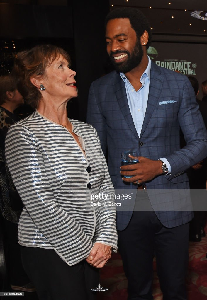 Celia Imrie (L) and Nicholas Pinnock attend the Raindance Film Festival anniversary drinks reception at The Mayfair Hotel on August 15, 2017 in London, England.