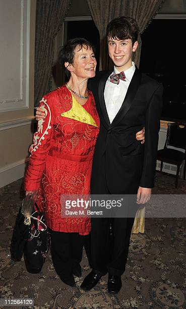 Celia Imrie and son Angus attend a party celebrating the launch of her autobiography 'The Happy Hoofer' at The Savoy Hotel on April 19, 2011 in...