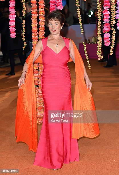 """Celia Imrie attends The Royal Film Performance and World Premiere of """"The Second Best Exotic Marigold Hotel"""" at Odeon Leicester Square on February..."""
