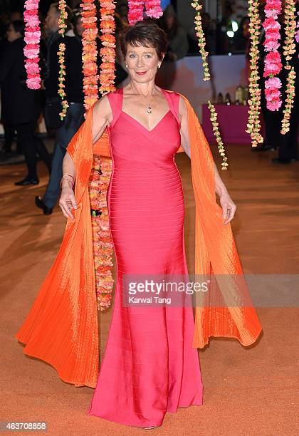 Celia Imrie attends The Royal Film Performance and World Premiere of 'The Second Best Exotic Marigold Hotel' at Odeon Leicester Square on February 17...