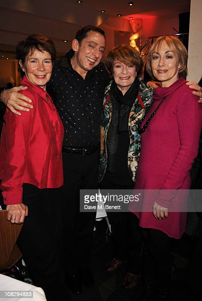 Celia Imrie Harold Sanditen Janet Suzman and Paula Wilcox attend the performance of 'Harold Sanditen Thought's Round Midnight' at The Pheasantry on...