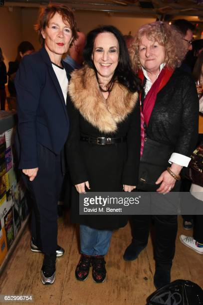 Celia Imrie Lesley Joseph and Jenny Beavan attend the press night performance of A Dark Night In Dalston at the Park Theatre on March 13 2017 in...