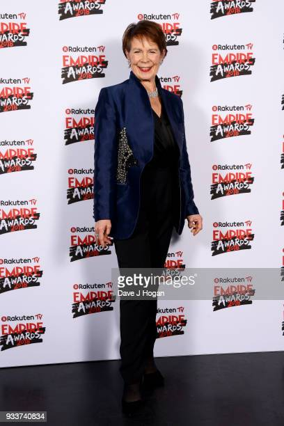 Celia Imrie poses in the winners room at the Rakuten TV EMPIRE Awards 2018 at The Roundhouse on March 18 2018 in London England