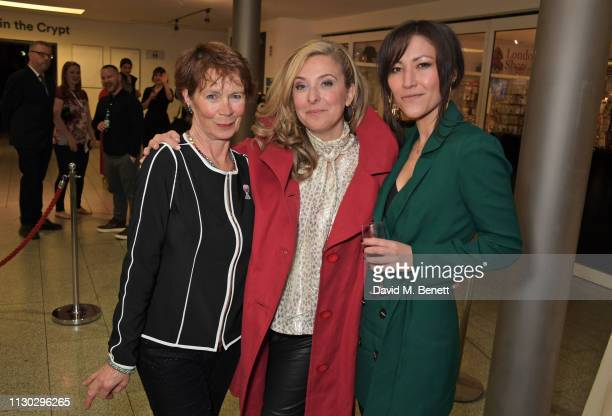 Celia Imrie Tracy Ann Oberman and Eleanor Matsuura attend the press night after party for Betrayal at The Cafe In The Crypt St MartinintheFields on...