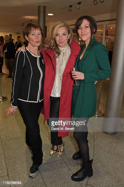 Celia Imrie TracyAnn Oberman and Eleanor Matsuura attend the press night after party for Betrayal at The Cafe In The Crypt St MartinintheFields on...