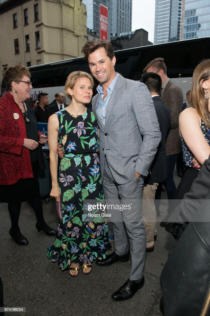 Celia Keenan-Bolger and Andrew Rannells attend the opening night on Broadway of Lucas Hnath's 'A Doll's House, Part 2' starring Laurie Metcalf and Chris Cooper at Golden Theatre on April 27, 2017 in New York City.