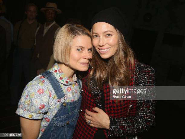 Celia KeenanBolger and Jessica Biel pose backstage at the Aaron Sorkin play To Kill a Mockingbird on Broadway at The Shubert Theatre on January 30...