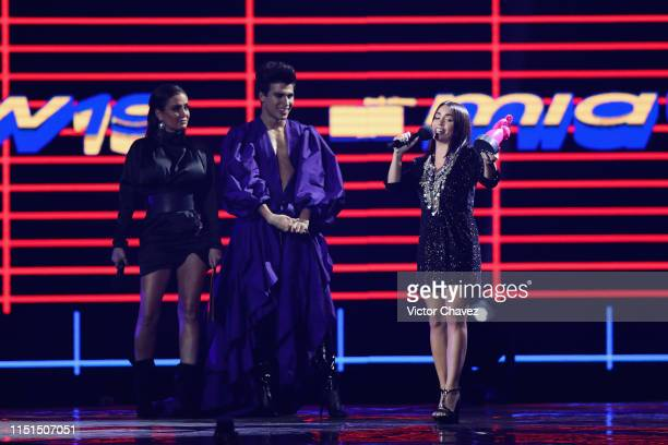 Celia Lora La Divaza and Lali Esposito speak on stage during the MTV MIAW Awards 2019 at Palacio de los Deportes on June 21 2019 in Mexico City Mexico