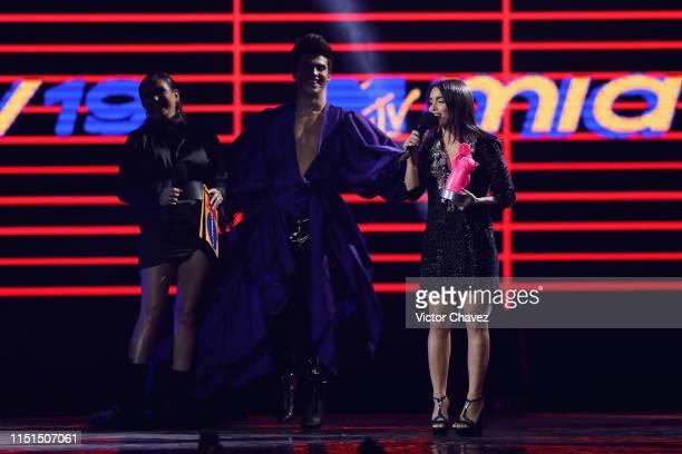 Celia Lora La Divaza and Lali Esposito speak on stage during the MTV MIAW Awards 2019 at Palacio de los Deportes on June 21 2019 in Mexico City Mexico