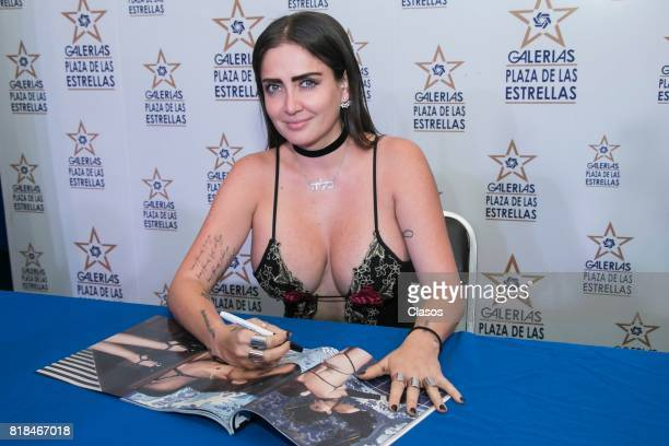 Celia Lora signs autographs during the launching of the new Playboy with her on the cover at Plaza de las Estrellas on July 13 2017 in Mexico City...
