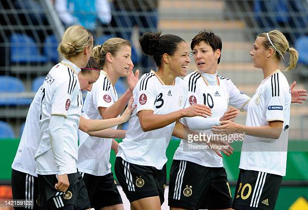 Celia Okoyino da Mbabi of Germany celebrates after scoring her teams first goal during the UEFA Women's Euro Qualifier Group 2 match between Germany...