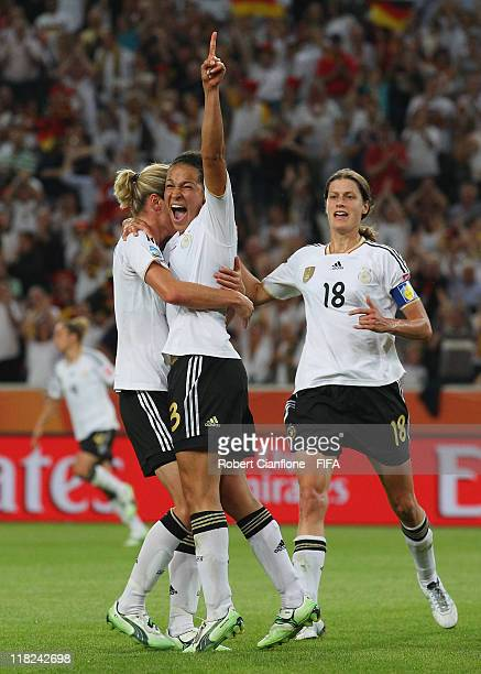 Celia Okoyino Da Mbabi of Germany celebrates her goal during the FIFA Women's World Cup 2011 Group A match between France and Germany at Borussia...