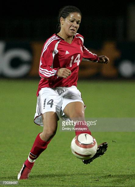 Celia Okoyino da Mbabi of Germany during the Women's FIFA World Cup qualifying match between Russia and Germany at Streltzova stadium on September 27...