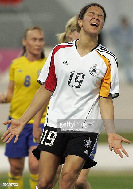 Celia Okoyino da Mbabi of Germany looks frustrated after missing a goal during the Womens Algarve Cup match between Germany and Sweden on March 11,...