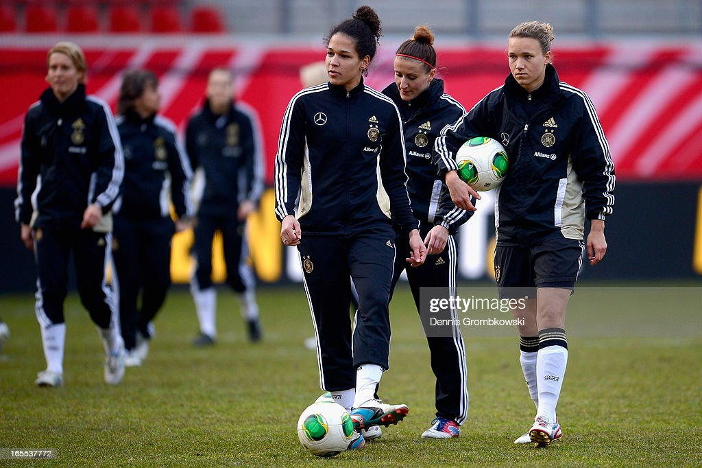 Celia Okoyino da Mbabi of Germany reacts during a training session ahead of their Women's International friendly match against the United States of America on April 4, 2013 in Frankfurt am Main, Germany.