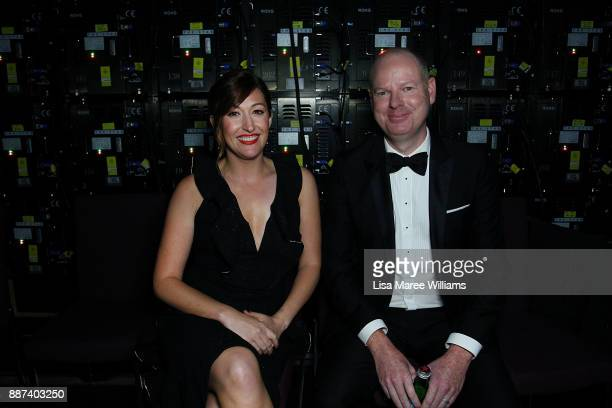 Celia Pacquola and Tom Gleeson prepare to go on stage during the 7th AACTA Awards Presented by Foxtel at The Star on December 6 2017 in Sydney...