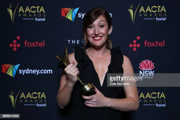 Celia Pacquola poses with an AACTA Award for Best Performance in a Television Comedy during the 7th AACTA Awards Presented by Foxtel | Ceremony at...