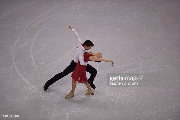 Celia Robledo and Luis Fenero of Spain during Ice Dance Short Dance competition at the ISU World Figure Skating Championships at TD Garden in Boston...