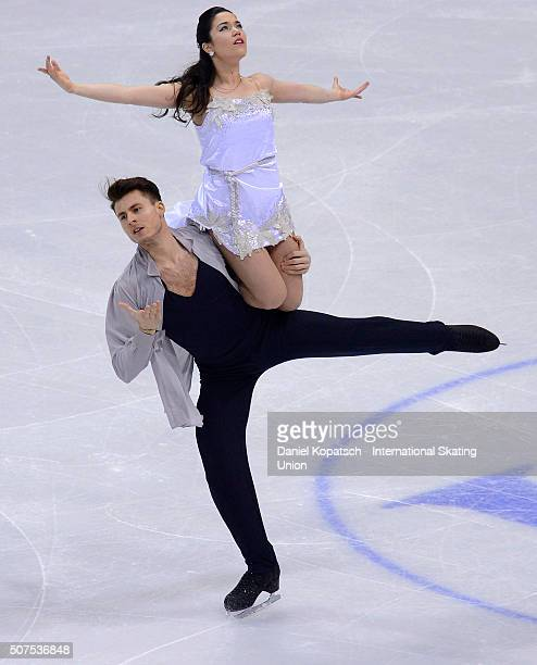 Celia Robledo and Luis Fenero of Spain perform during Ice Dance Free Dance on day four of the ISU European Figure Skating Champinships 2016 on...