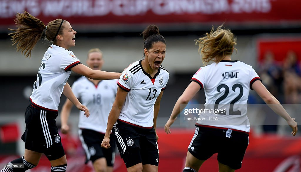Celia Sasic of Germany celebrates after scoring her teams first goal during the FIFA Women's World Cup 2015 Group B match between Germany and Cote D'Ivoire at Lansdowne Stadium on June 7, 2015 in Ottawa, Canada.
